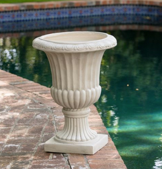 "25"" Tall Aged White Stone Italian Decor Outdoor Garden Urn Planter : Flowers Pot US $90.99 - FREE shipping"