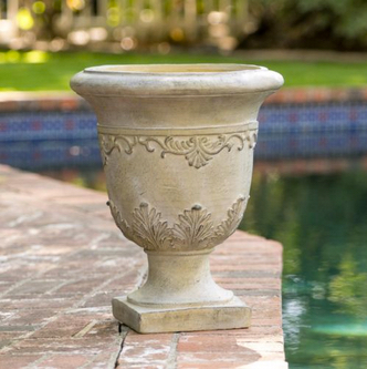 Floriana Antique Green Stone Planter. Tall Aged Roman Design US $59.99