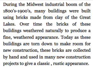 OLD CHICAGO BRICK DESCRIPTION (OLD CHICAGO BRICK VENEER TILE & PAVERS)